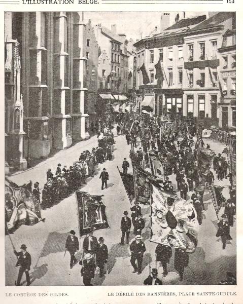 Le cortège des gildes, défilé des bannières Bruxelles 1905
